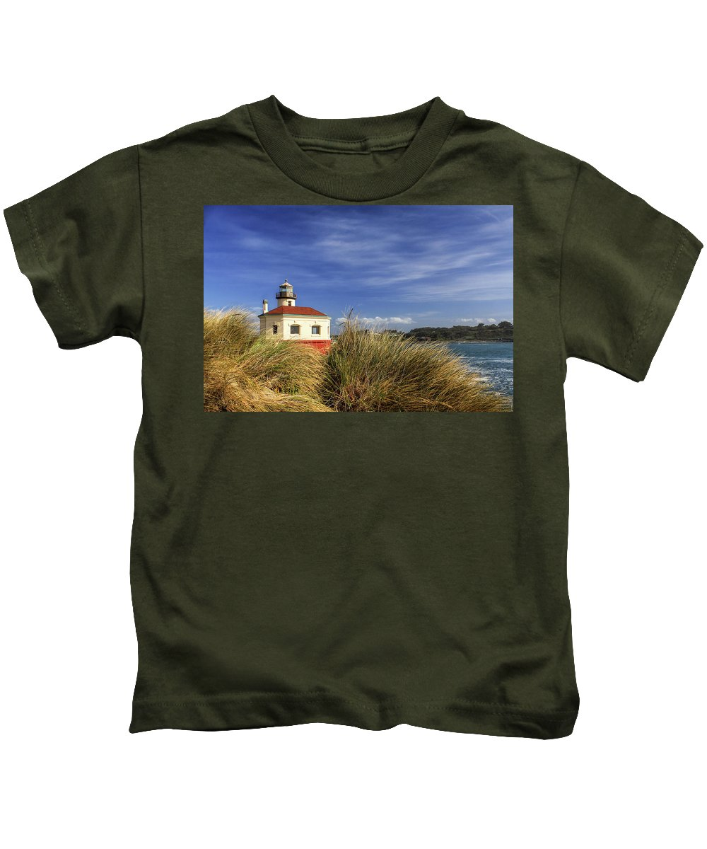 Lighthouse Kids T-Shirt featuring the photograph Bandon Coquille River Lighthouse by James Eddy