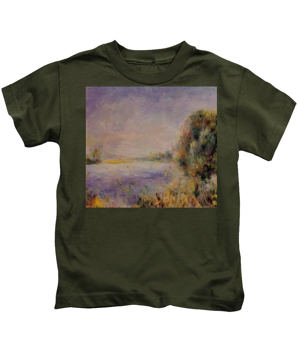 Banks Kids T-Shirt featuring the painting Banks Of The River 1876 by Renoir PierreAuguste