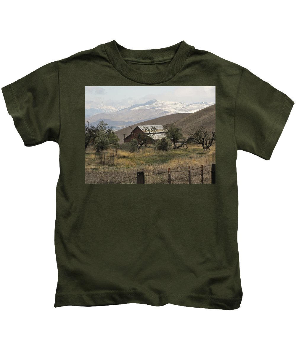 Barn Kids T-Shirt featuring the photograph Barn And Snow by Karen W Meyer