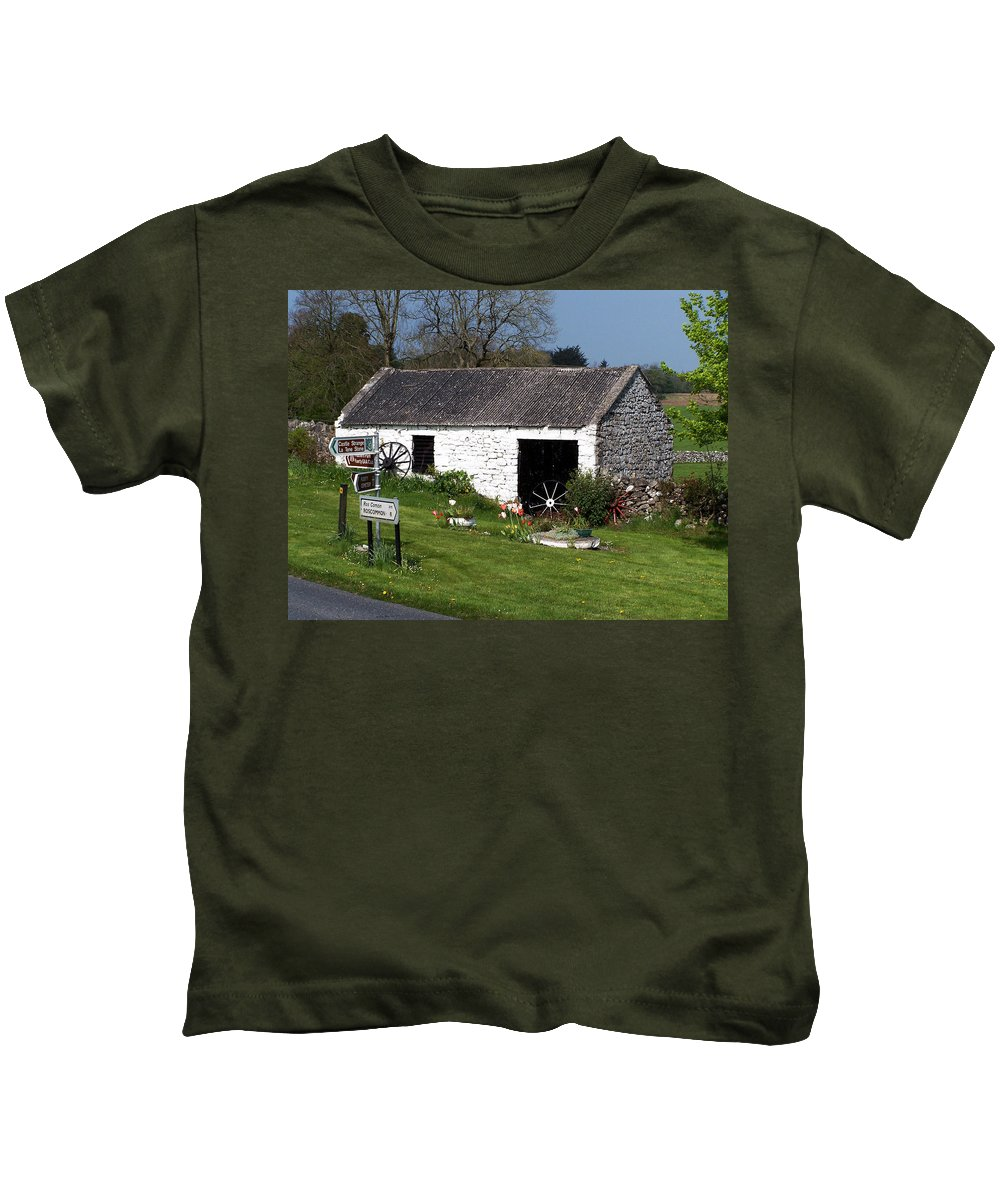 Ireland Kids T-Shirt featuring the photograph Barn At Fuerty Church Roscommon Ireland by Teresa Mucha