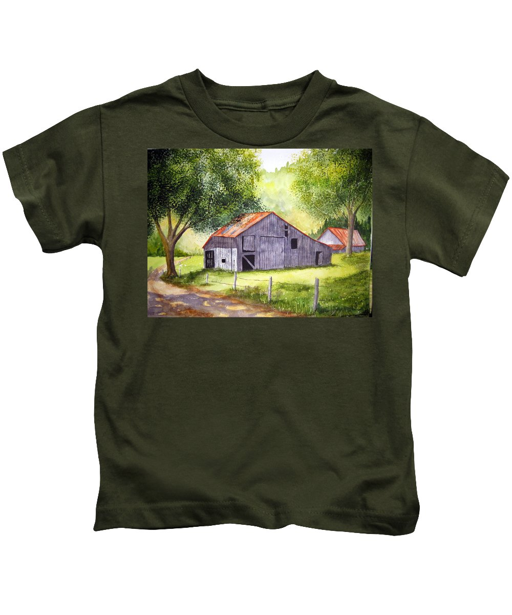 Nc Kids T-Shirt featuring the painting Barn By The Road by Julia RIETZ