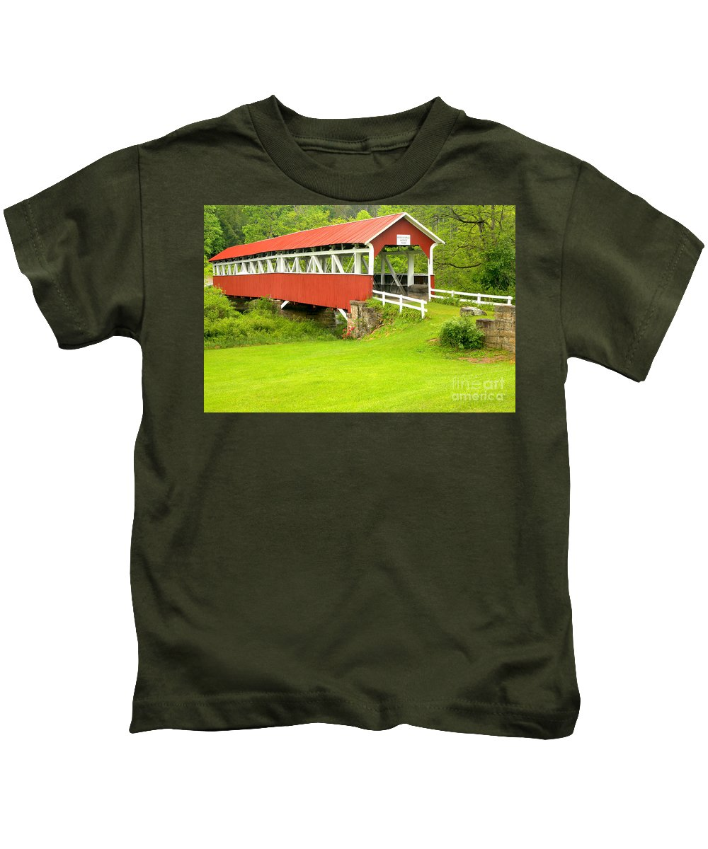 Barronvale Covered Bridge Kids T-Shirt featuring the photograph Barron's Covered Bridge by Adam Jewell