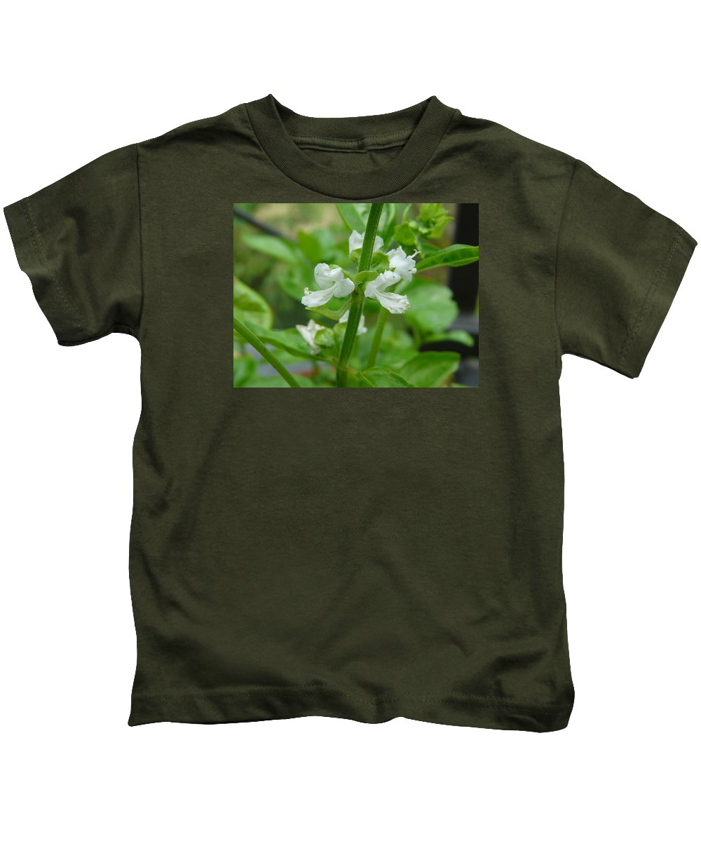Plant Kids T-Shirt featuring the photograph Basil Blossom by Valerie Ornstein
