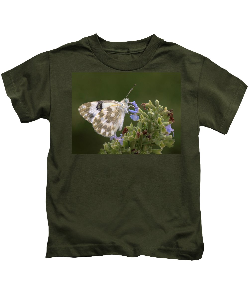 Butterfly Kids T-Shirt featuring the photograph Bath White by Meir Ezrachi