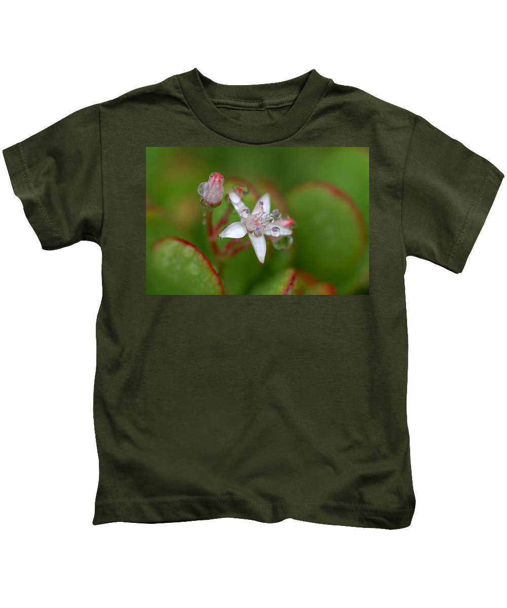 Jade Plant Kids T-Shirt featuring the photograph Bathed In Sweat by Donna Blackhall
