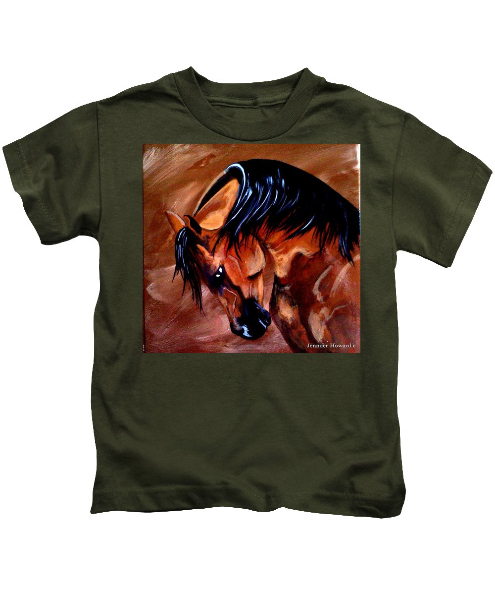 Horse Kids T-Shirt featuring the painting Bay by Jennifer Howard