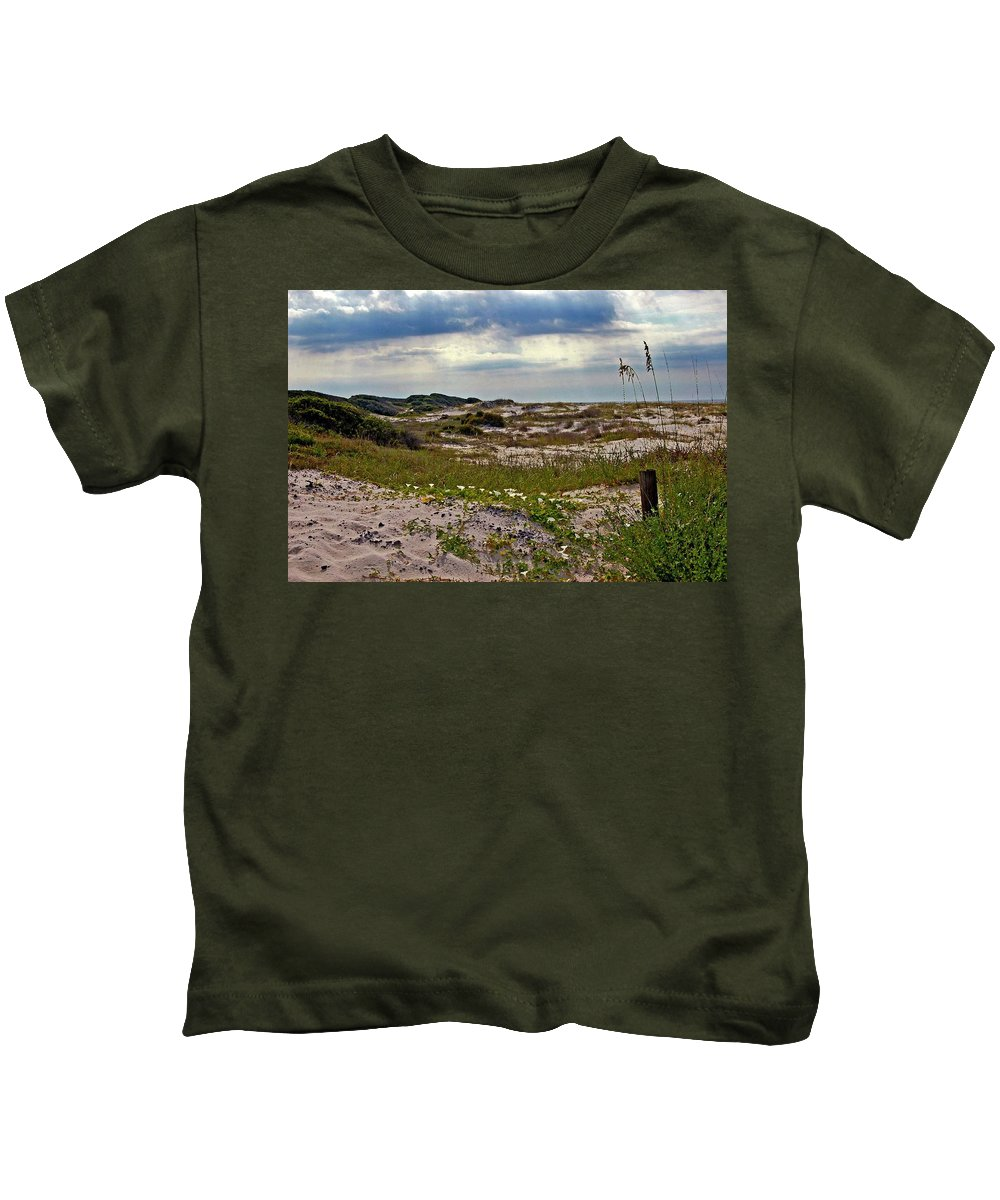 Beach Kids T-Shirt featuring the painting Beach Carpet by Michael Thomas