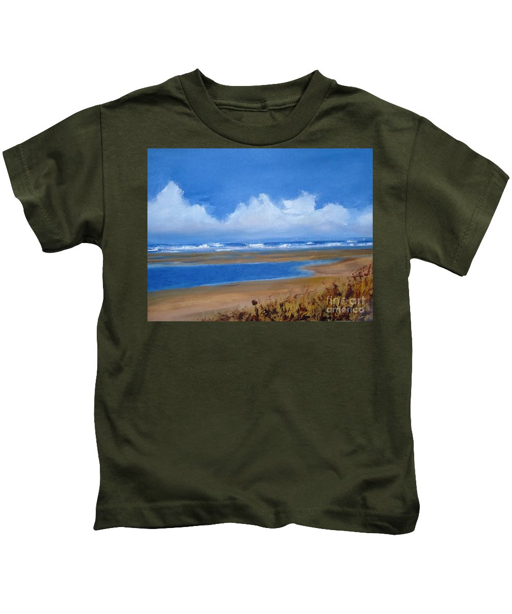 Seascape Kids T-Shirt featuring the painting Beach In Norfolk, England by Angela Cartner