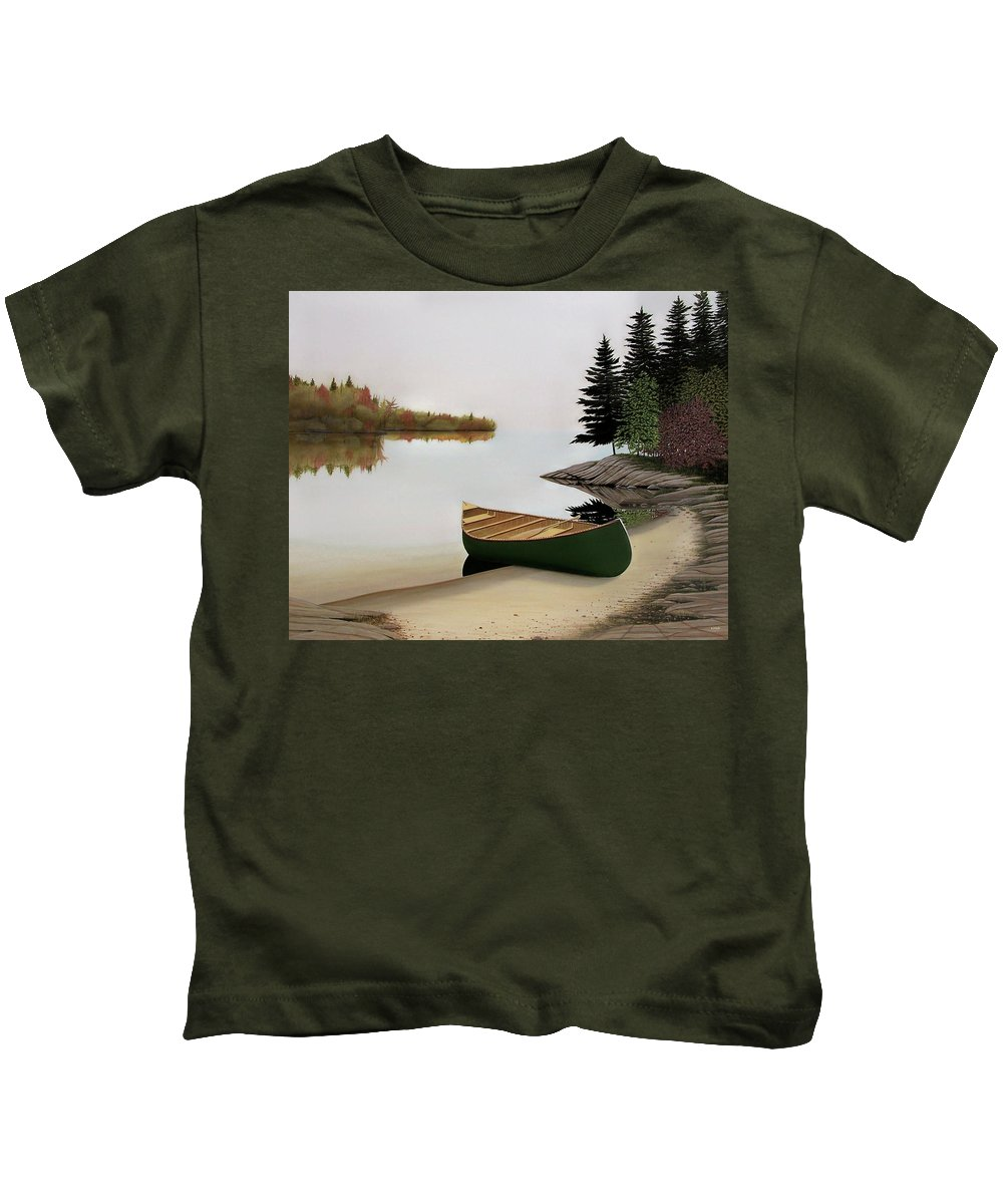 Canoe Paintings Kids T-Shirt featuring the painting Beached Canoe In Muskoka by Kenneth M Kirsch