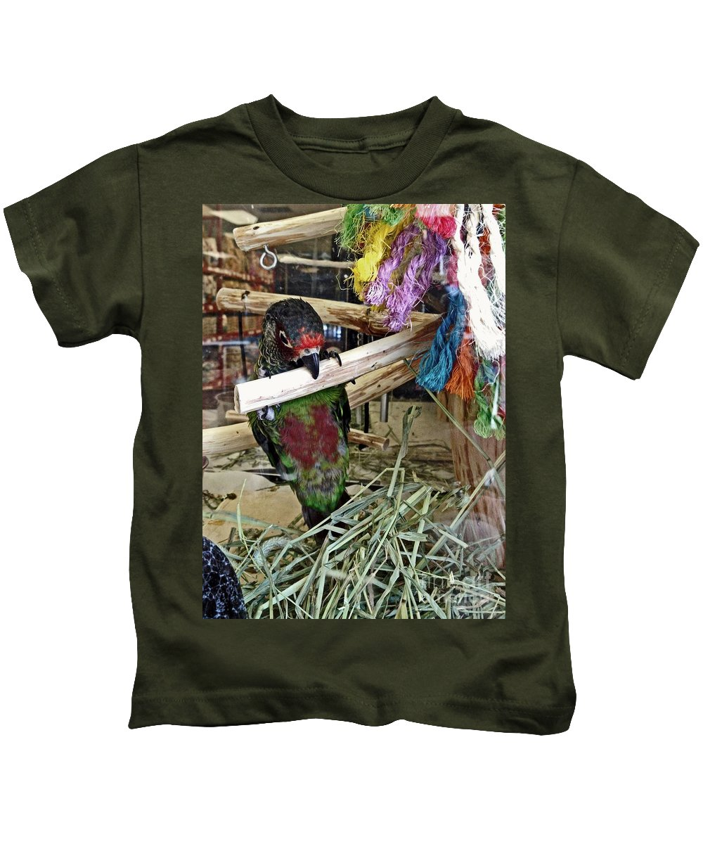 Female Parrot Kids T-Shirt featuring the photograph Beak Ups by Catherine Melvin