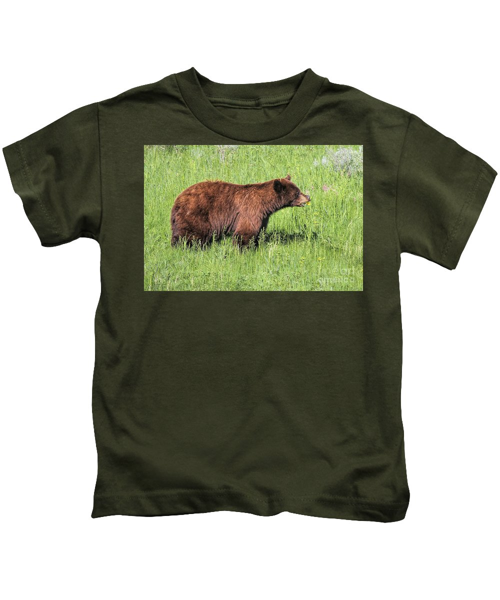 Bear Eating Daisies Kids T-Shirt featuring the photograph Bear Eating Daisies by Jemmy Archer