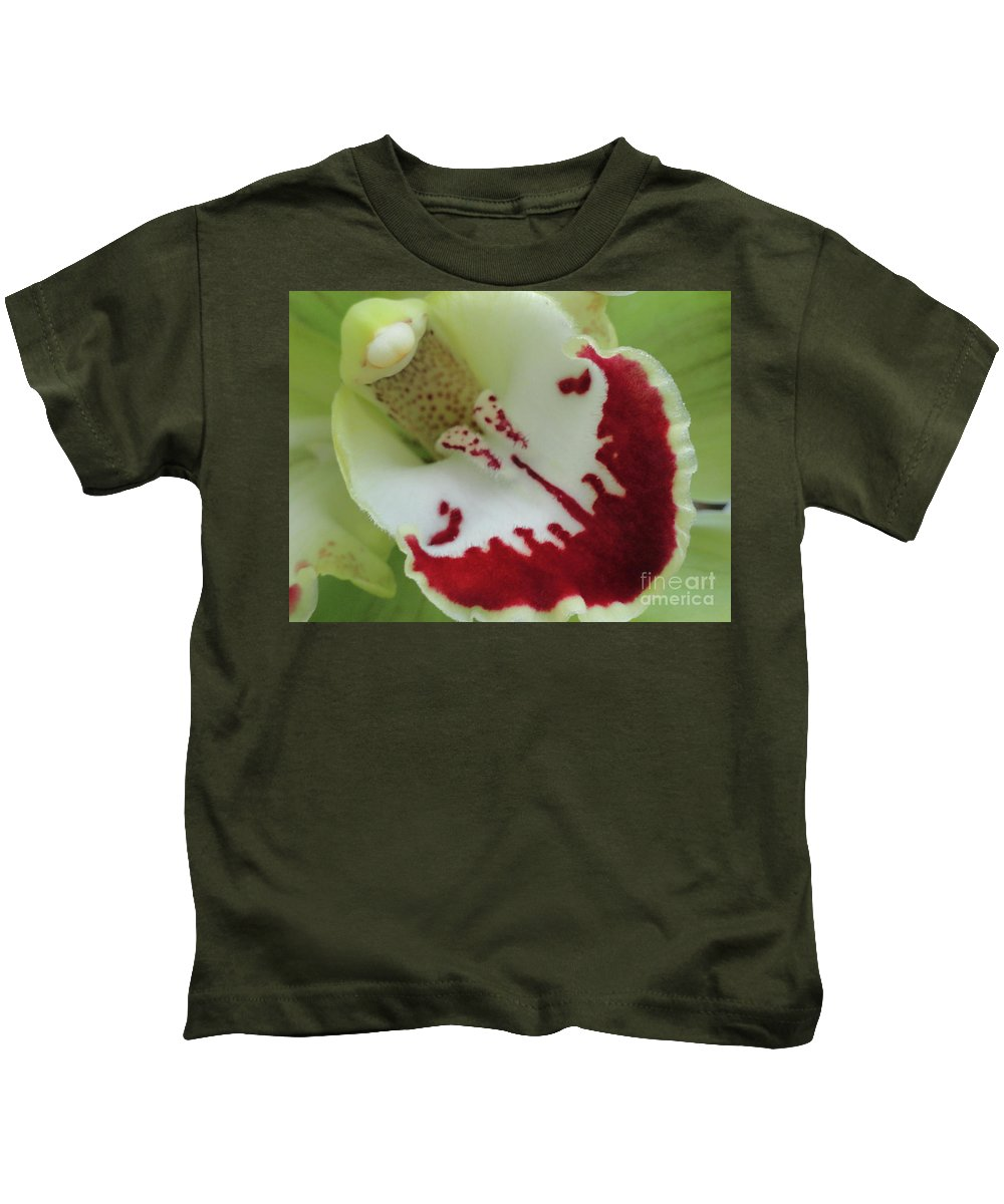 Orchids Kids T-Shirt featuring the photograph Bearded Tongue by Trish Hale