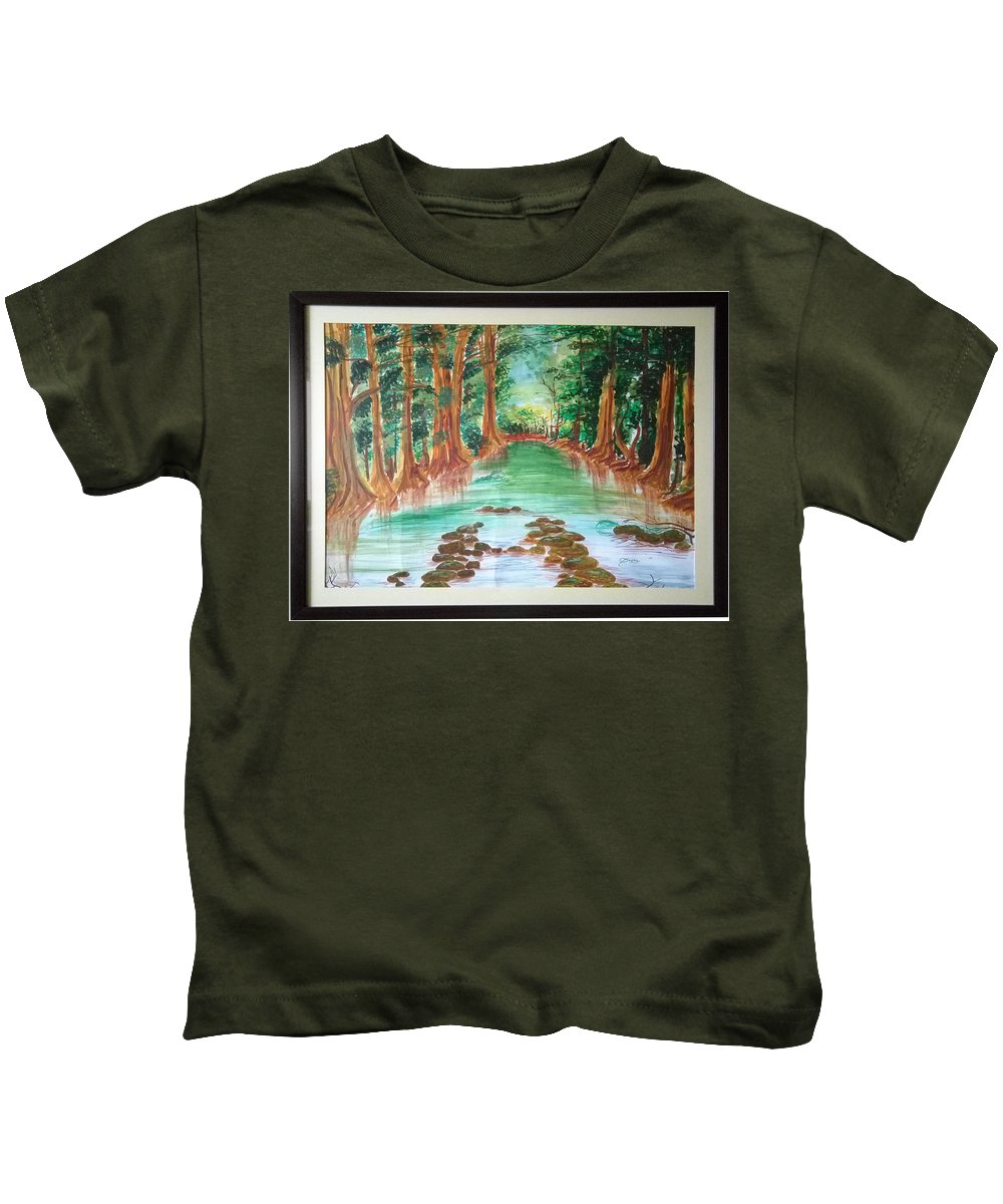 Beauty Of Nature Kids T-Shirt featuring the painting Beauty Of Nature by Sneha Choudhary