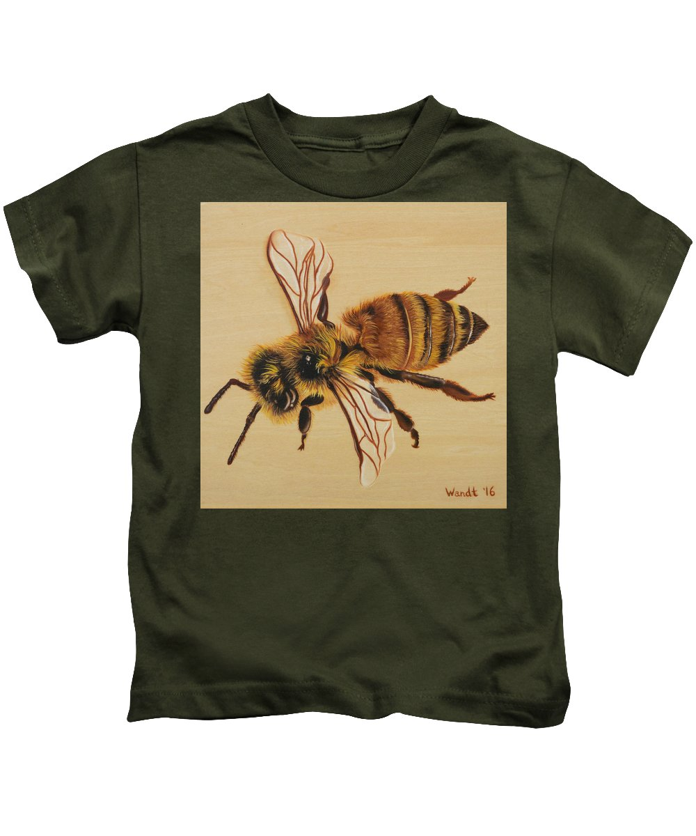 Honey Bee Kids T-Shirt featuring the painting Bee Ix Delphine by Linda Wandt