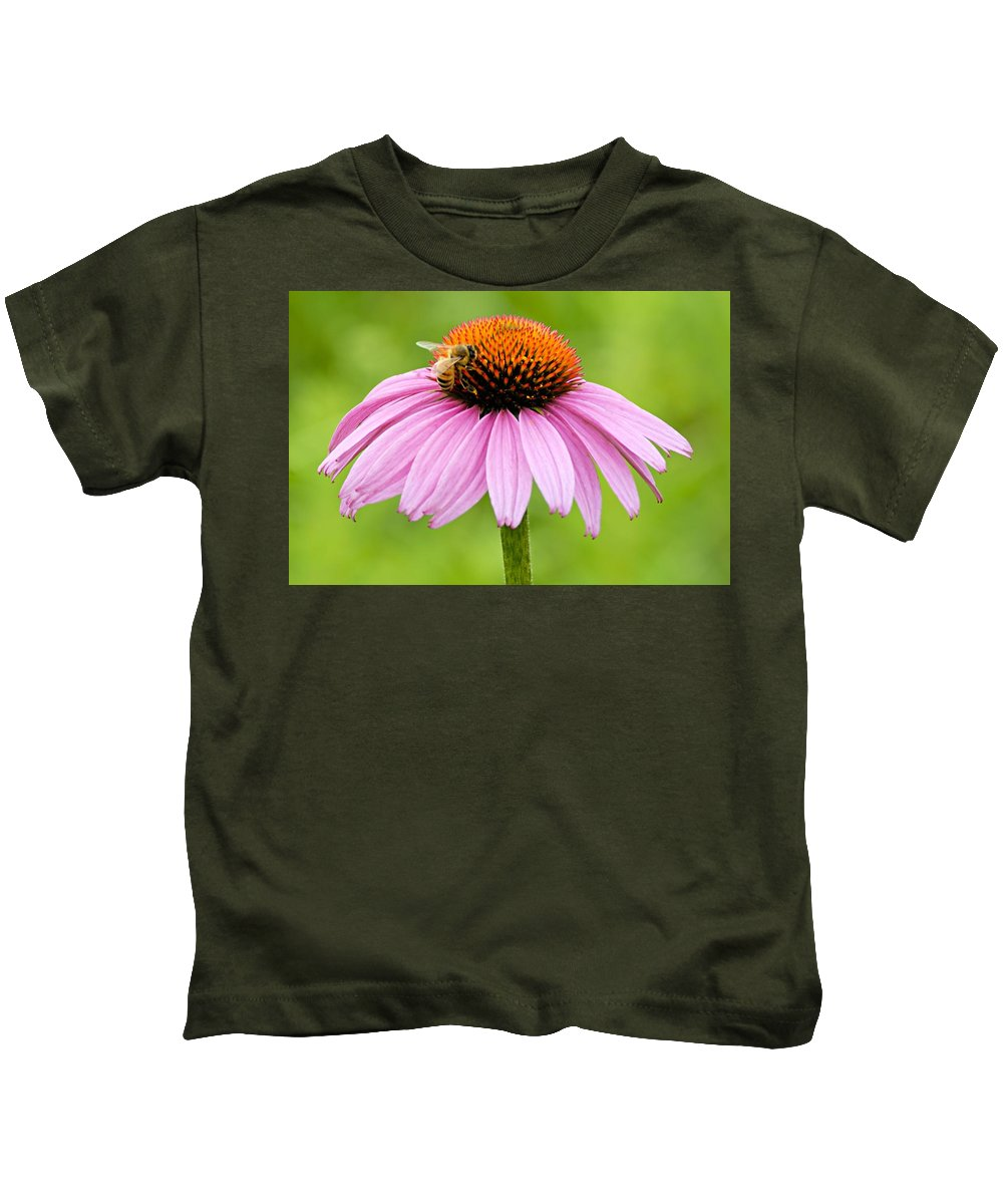 Photography Kids T-Shirt featuring the photograph Bee On Cone Flower by Larry Ricker