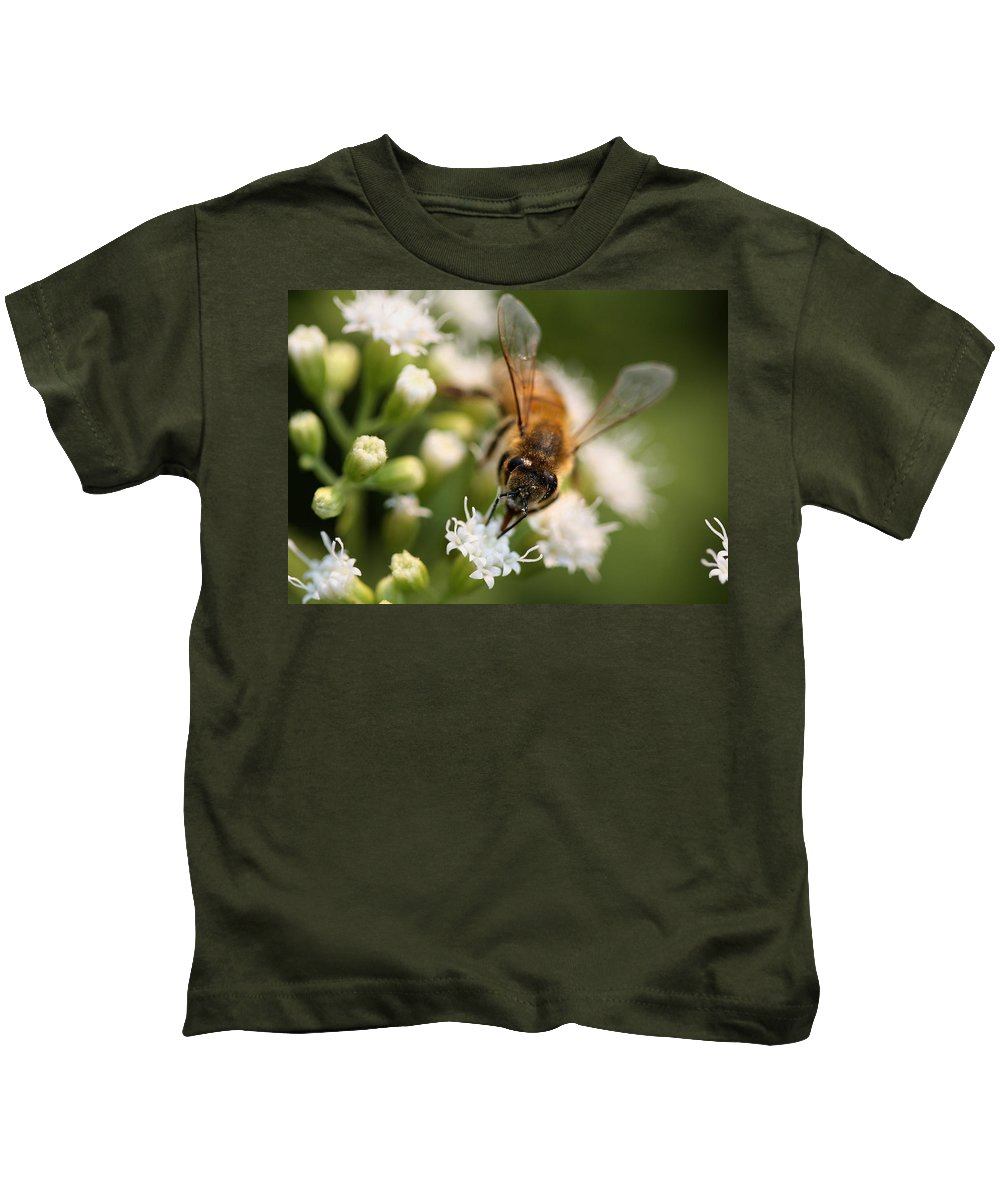 Wasp Kids T-Shirt featuring the photograph Bee On White by Angela Rath