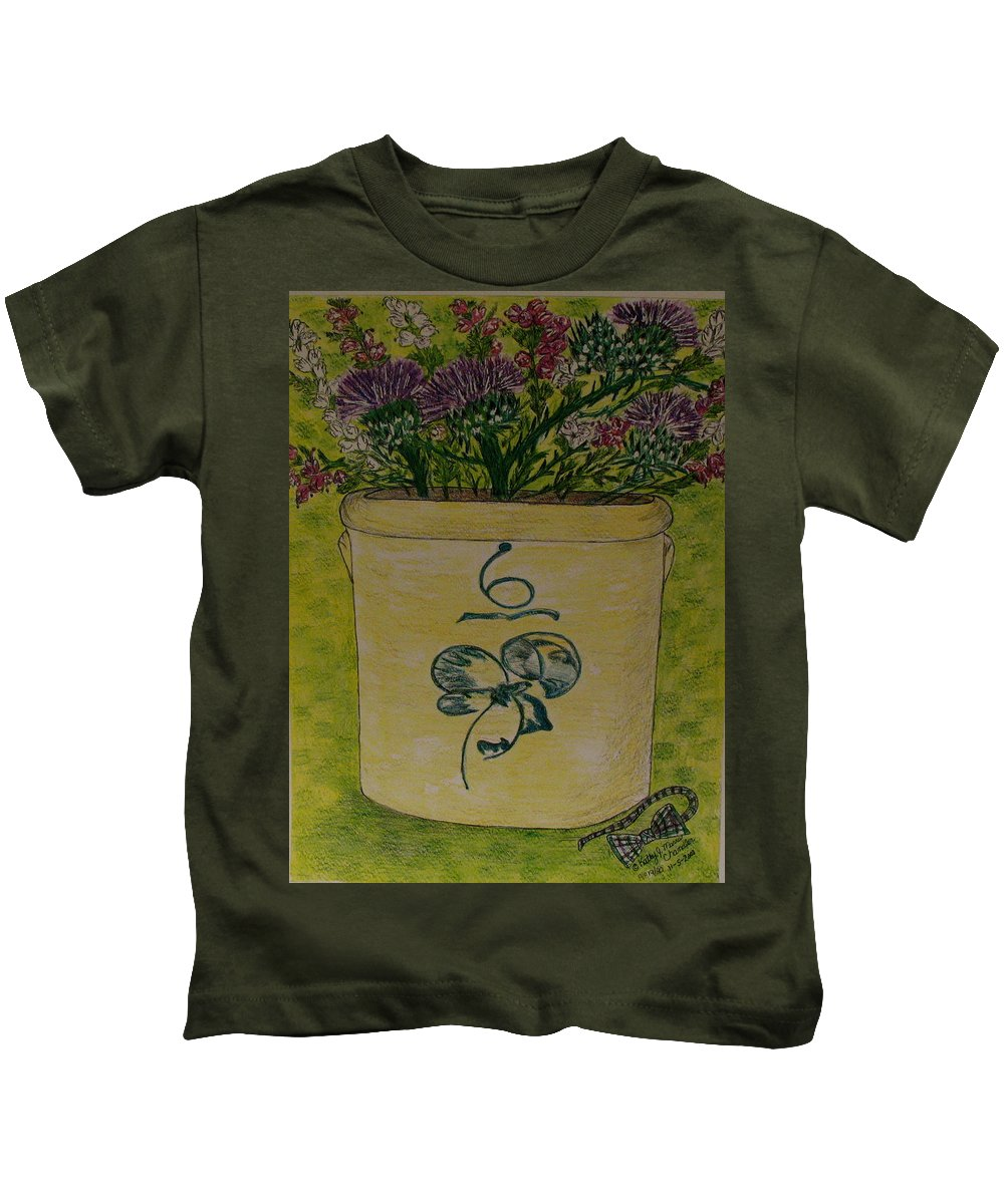 Bee Sting Crock Kids T-Shirt featuring the painting Bee Sting Crock With Good Luck Bow Heather And Thistles by Kathy Marrs Chandler