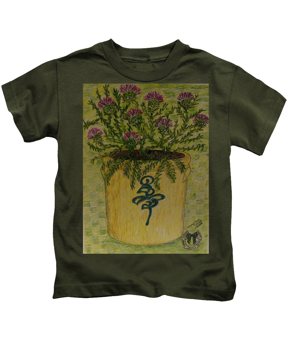 Vintage Kids T-Shirt featuring the painting Bee Sting Crock With Good Luck Horseshoe by Kathy Marrs Chandler