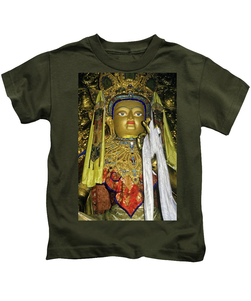 Tibet Kids T-Shirt featuring the photograph Bejeweled Buddha by Michele Burgess