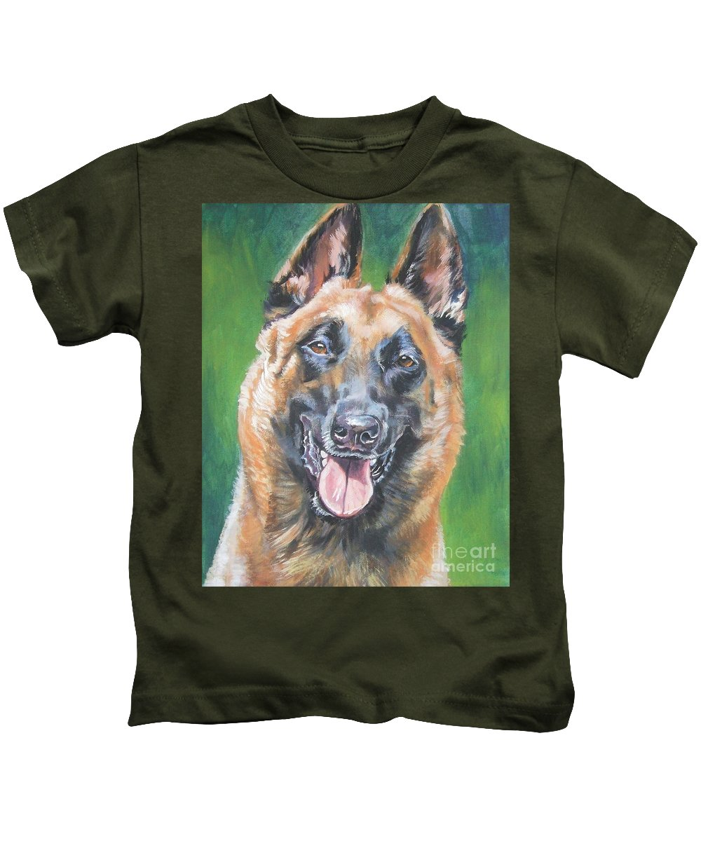 Belgian Malinois Kids T-Shirt featuring the painting Belgian Malinois Smile by Lee Ann Shepard