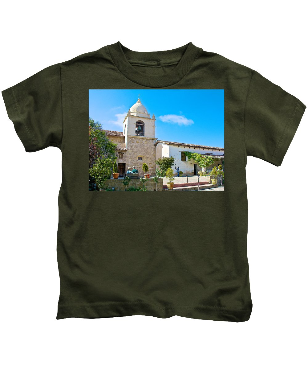 Bell Tower In Carmel Mission Kids T-Shirt featuring the photograph Bell Tower In Carmel Mission-california by Ruth Hager