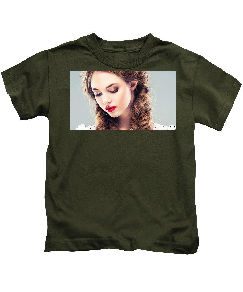 Belle Silk Kids T-Shirt featuring the mixed media Belle Silk by Kell Mart