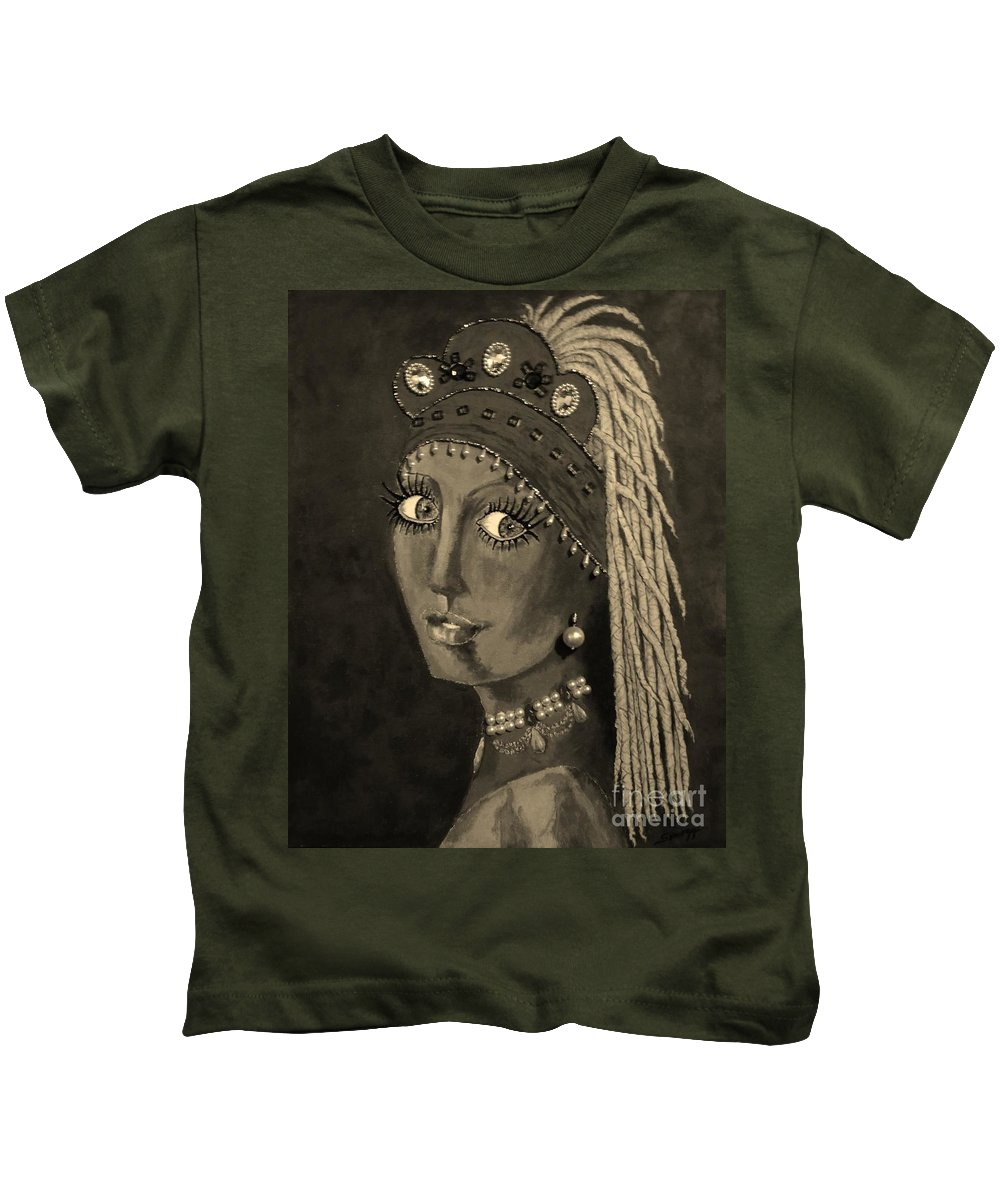 Sepia Portrait Kids T-Shirt featuring the painting Belly Dancer With A Pearl Earring In Sepia by Jayne Somogy