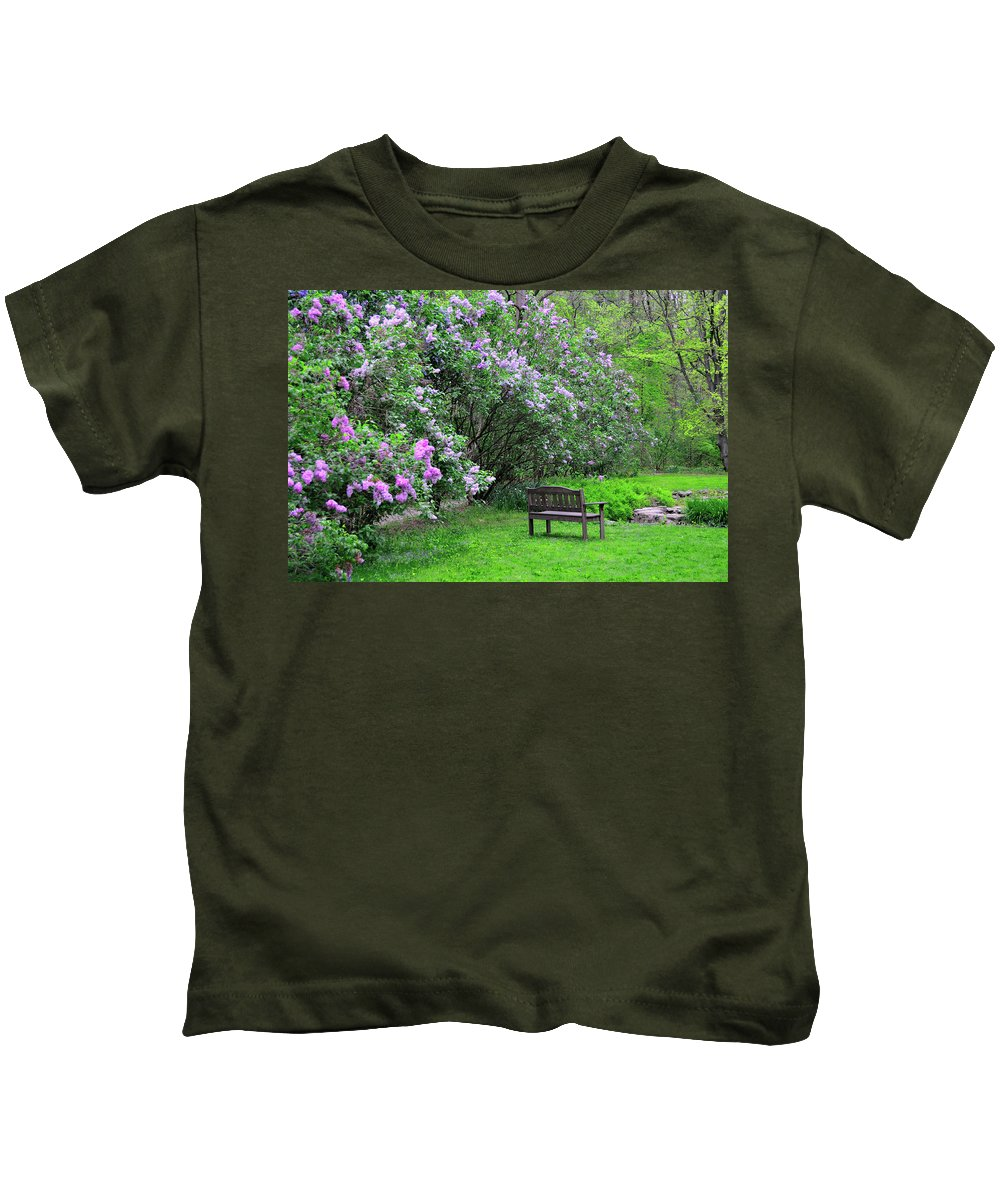 Spring Kids T-Shirt featuring the photograph Bench In Lillacs by David Arment