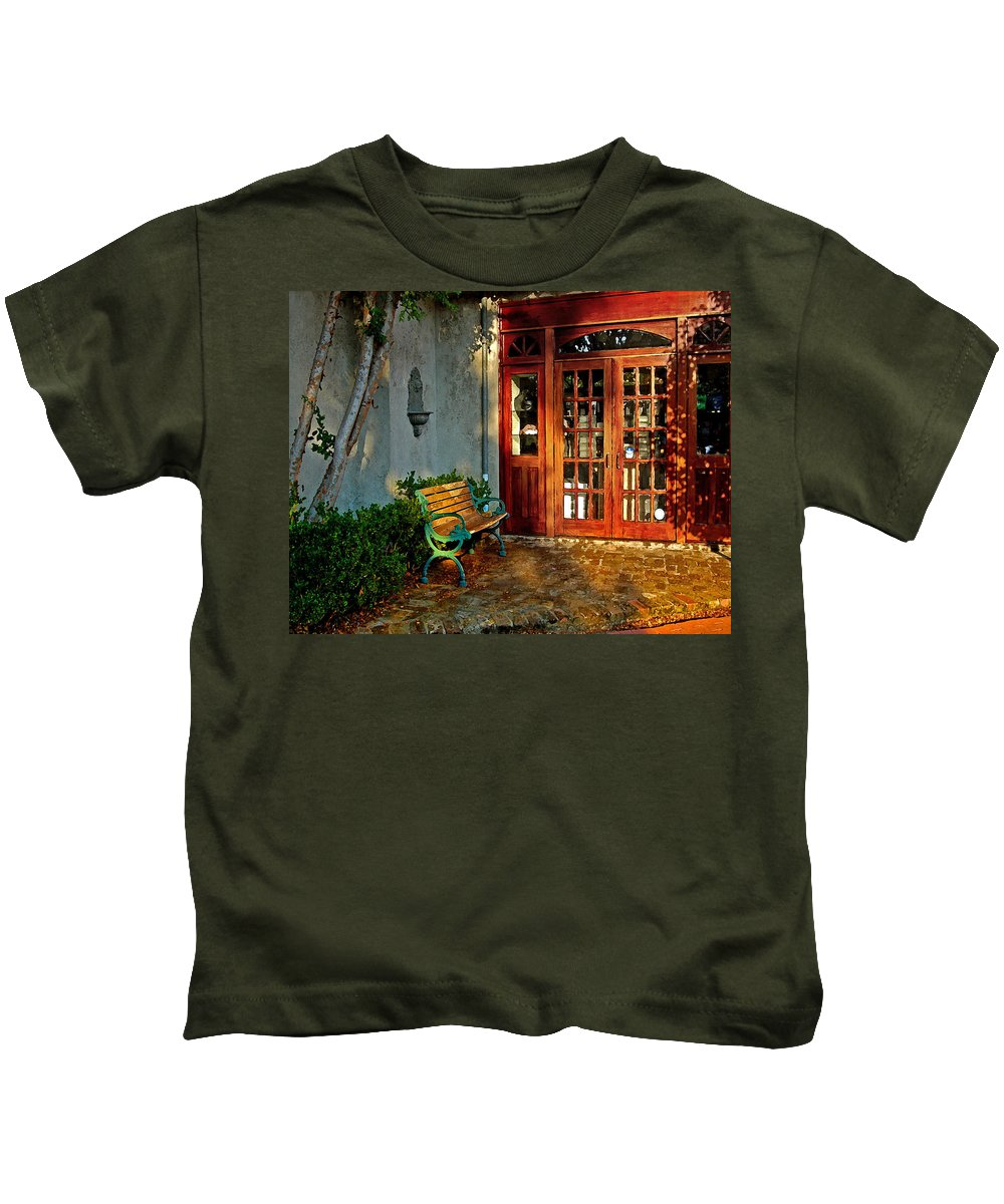 Fairhope Kids T-Shirt featuring the painting Benched In Fairhope Alabama by Michael Thomas