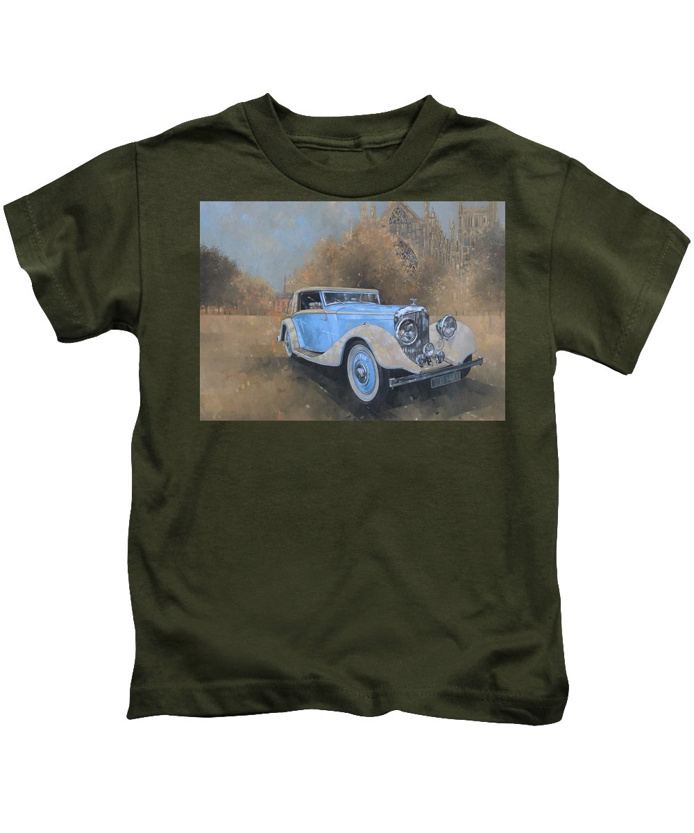 Car; Vehicle; Vintage; Automobile; Blue; Bentley; Kellner; Old Timer Kids T-Shirt featuring the painting Bentley By Kellner by Peter Miller