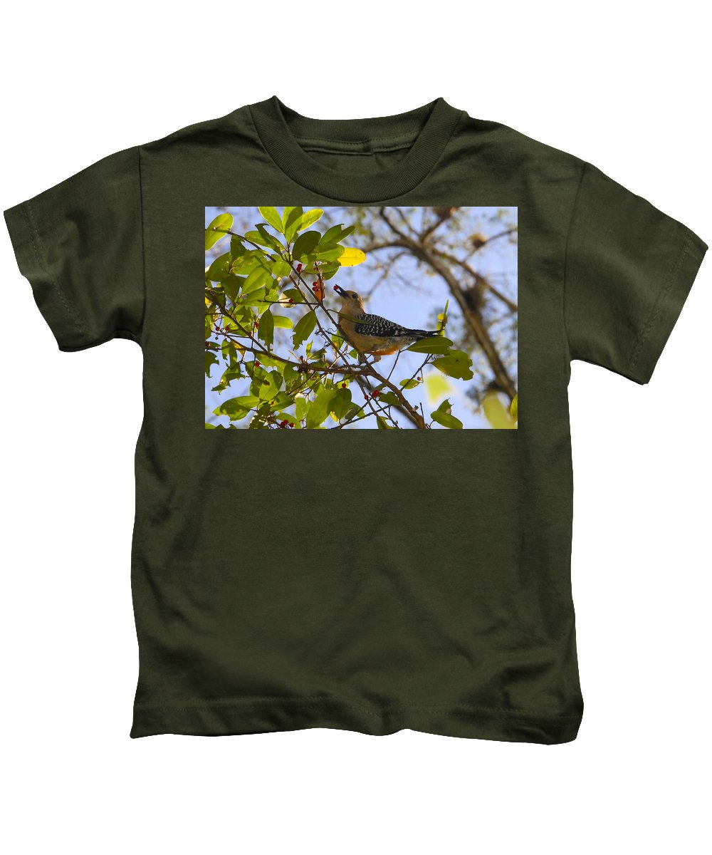 Woodpecker.red Belled Woodpecker Kids T-Shirt featuring the photograph Berry Good Woodpecker by David Lee Thompson