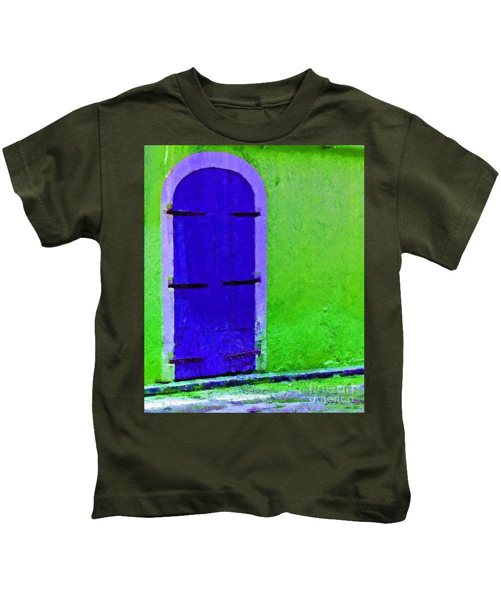 Door Kids T-Shirt featuring the photograph Beyond The Blue Door by Debbi Granruth