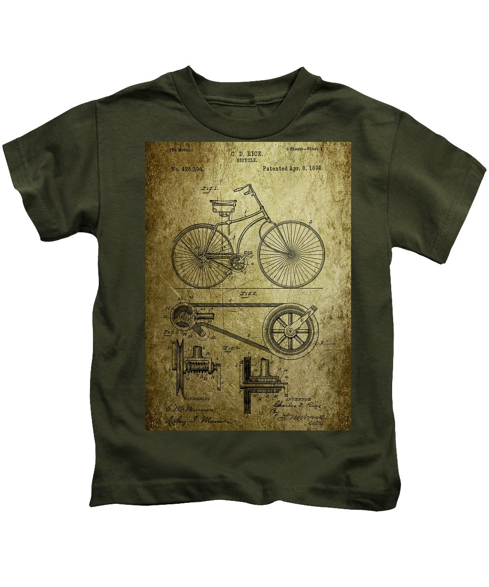 Bicycle Kids T-Shirt featuring the photograph Bicycle Patent 1890 by Chris Smith