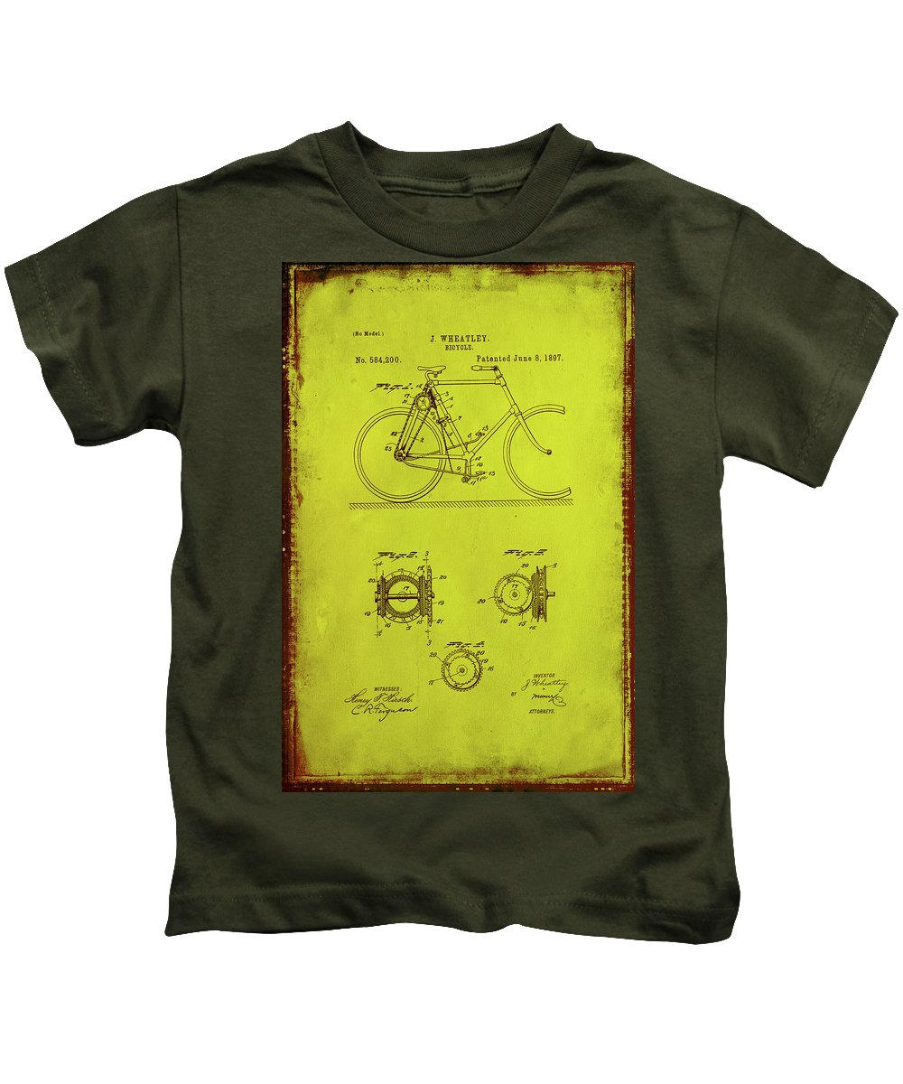 Patent Kids T-Shirt featuring the mixed media Bicycle Patent Drawing 4d by Brian Reaves