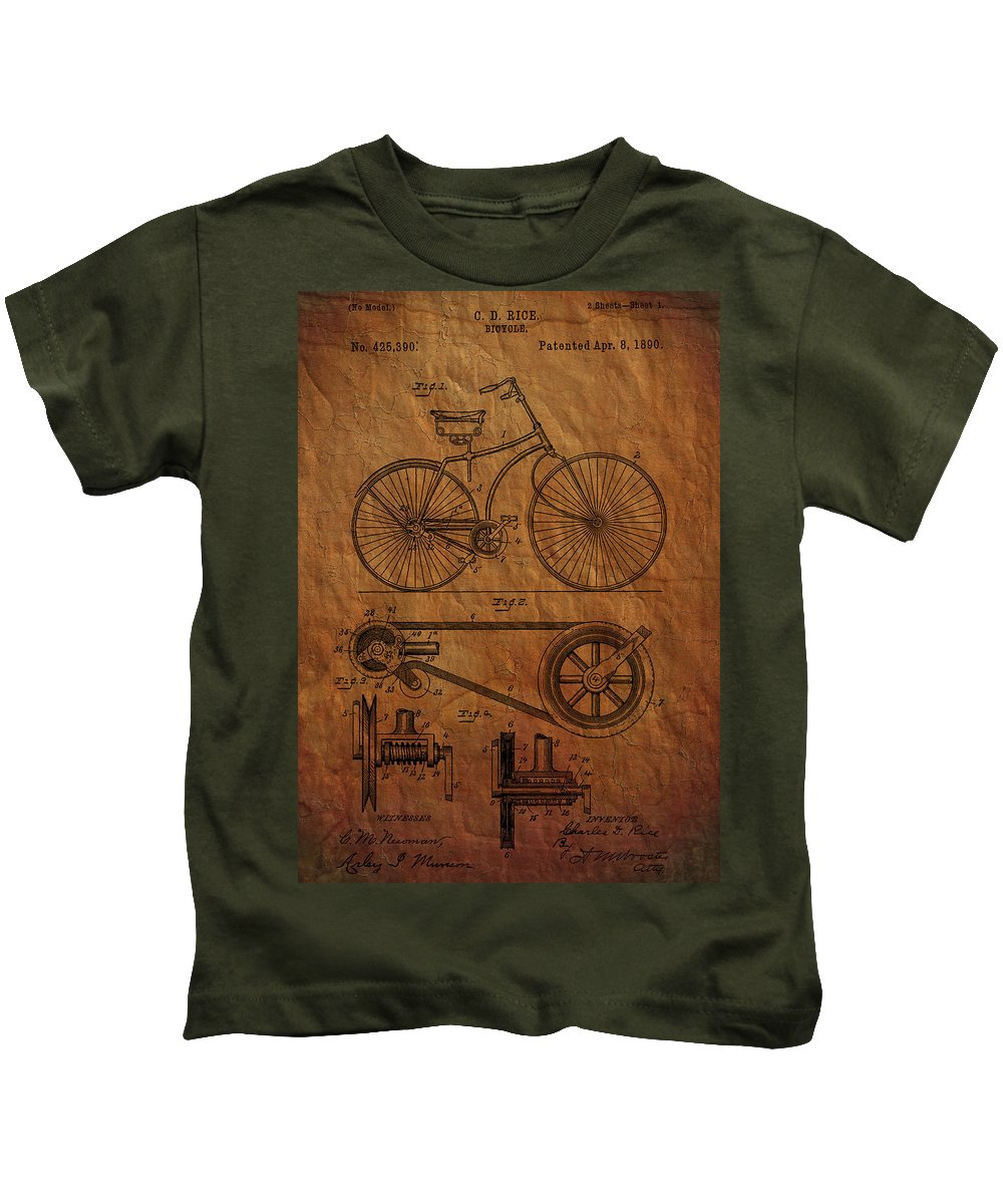 Bicycle Kids T-Shirt featuring the photograph Bicycle Patent From 1890 by Chris Smith