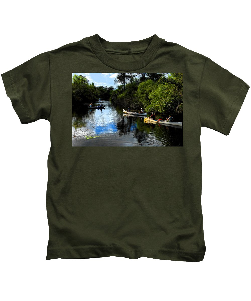 Big Cypress National Preserve Florida Kids T-Shirt featuring the painting Big Cypress Outing by David Lee Thompson