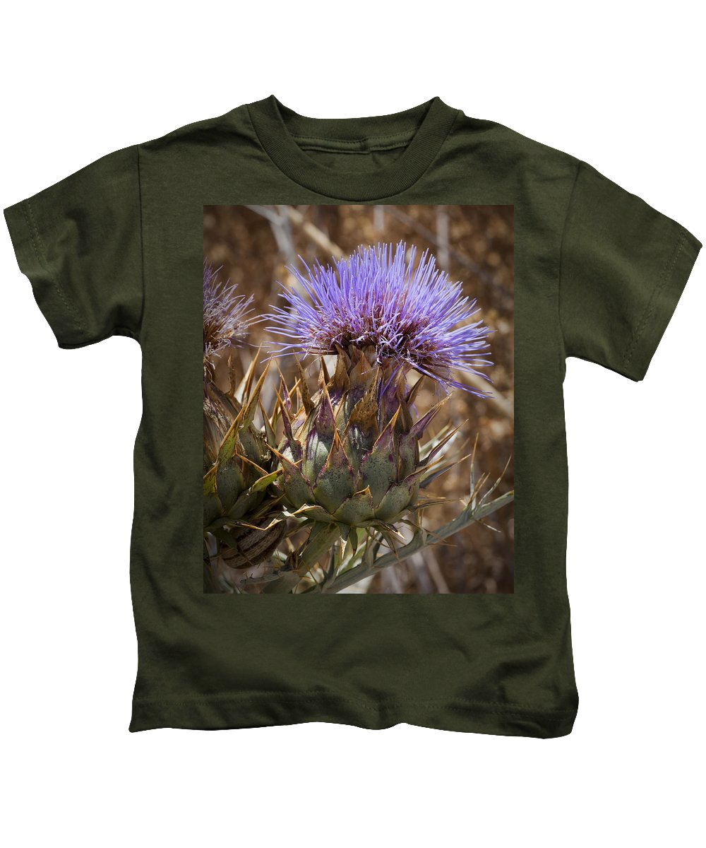 Artichoke Thistles Kids T-Shirt featuring the photograph Big Thistle 2 by Kelley King