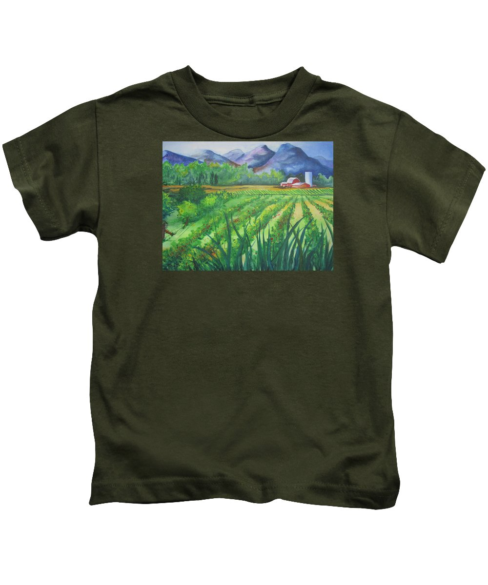 Landscape Kids T-Shirt featuring the painting Big Valley Farm by Karen Stark