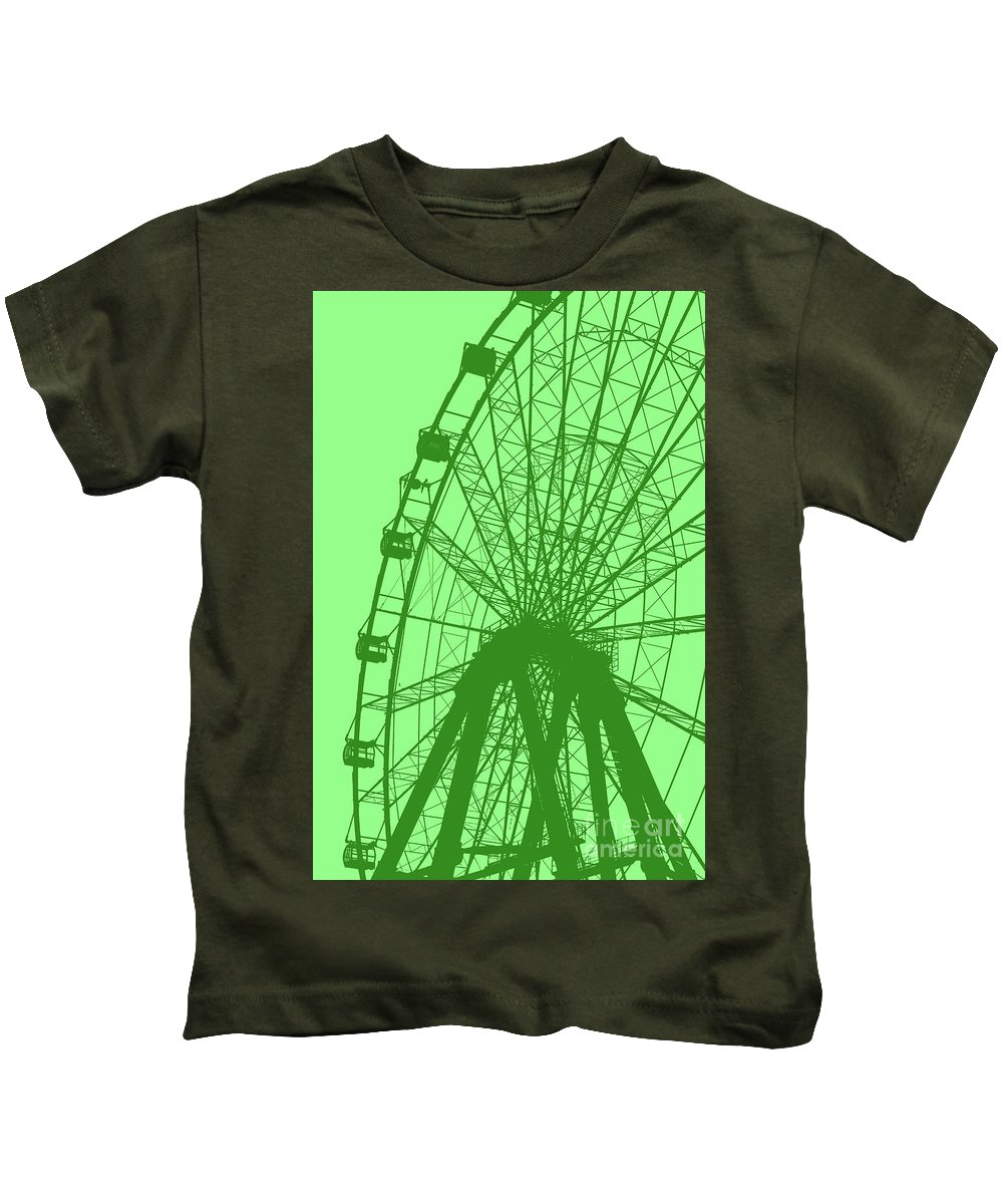Big Kids T-Shirt featuring the digital art Big Wheel Green by Eddie Barron