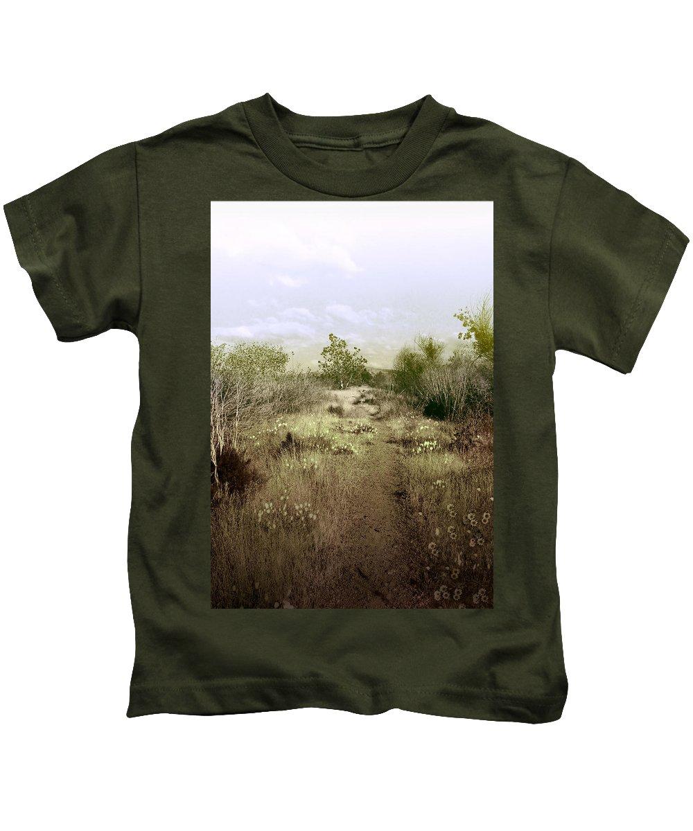 Landscape Kids T-Shirt featuring the photograph Bike Path Brown by Karen W Meyer