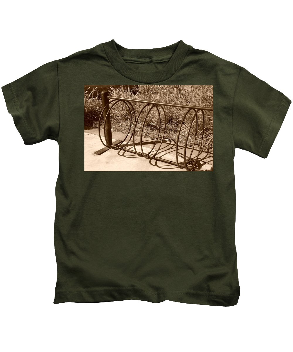 Bicycle Kids T-Shirt featuring the photograph Bike Rack by Rob Hans
