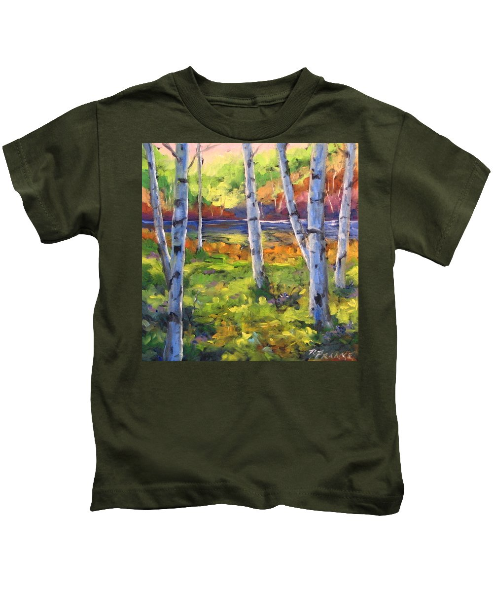 Art Kids T-Shirt featuring the painting Birches 01 by Richard T Pranke