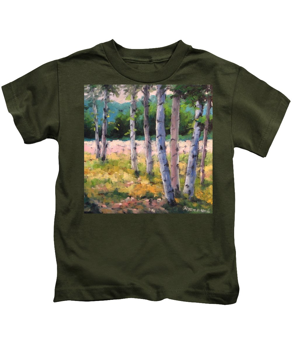 Art Kids T-Shirt featuring the painting Birches 04 by Richard T Pranke