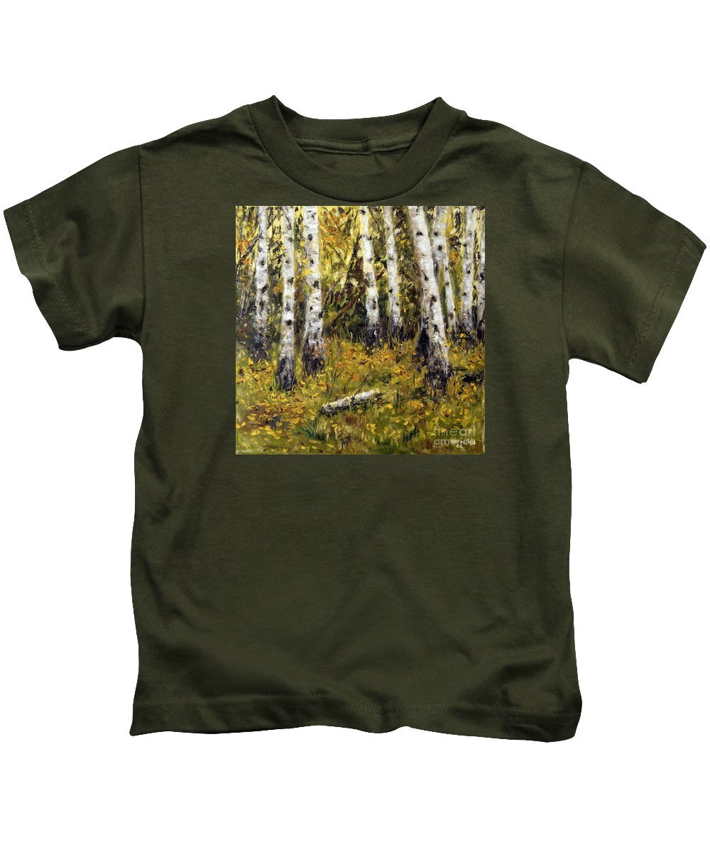 Landscape Kids T-Shirt featuring the painting Birches by Arturas Slapsys