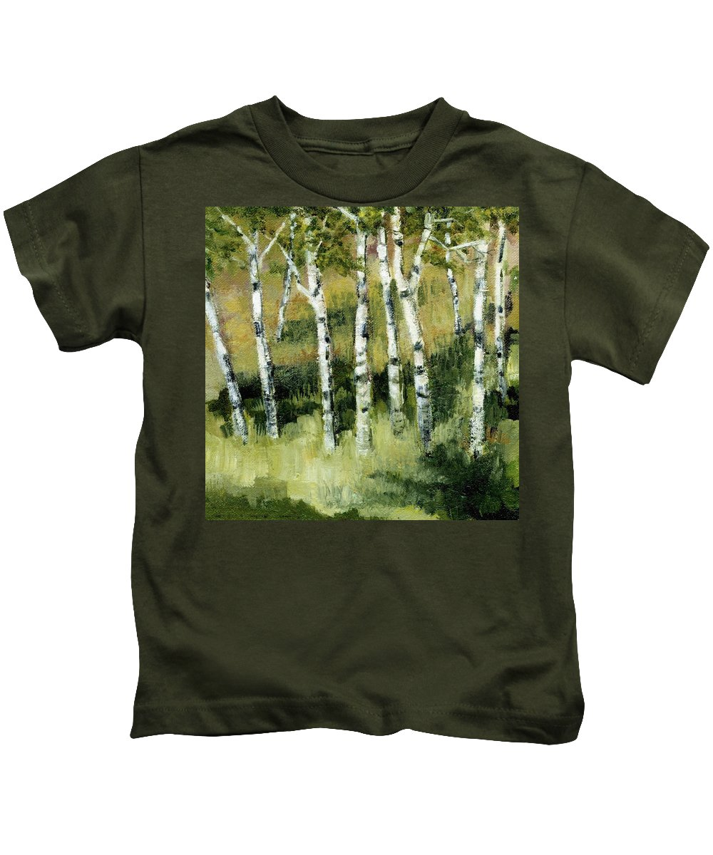 Trees Kids T-Shirt featuring the painting Birches On A Hill by Michelle Calkins