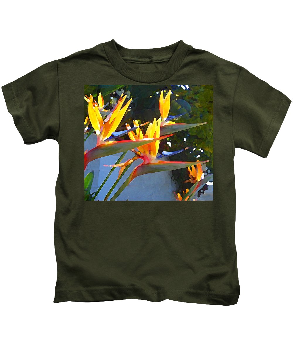 Abstract Kids T-Shirt featuring the painting Bird Of Paradise Backlit By Sun by Amy Vangsgard
