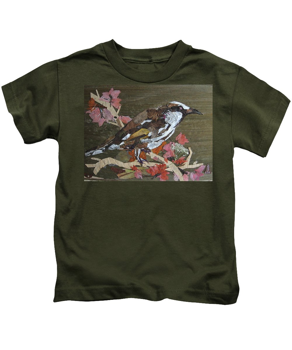 Bird Kids T-Shirt featuring the mixed media Bird White eye by Basant Soni