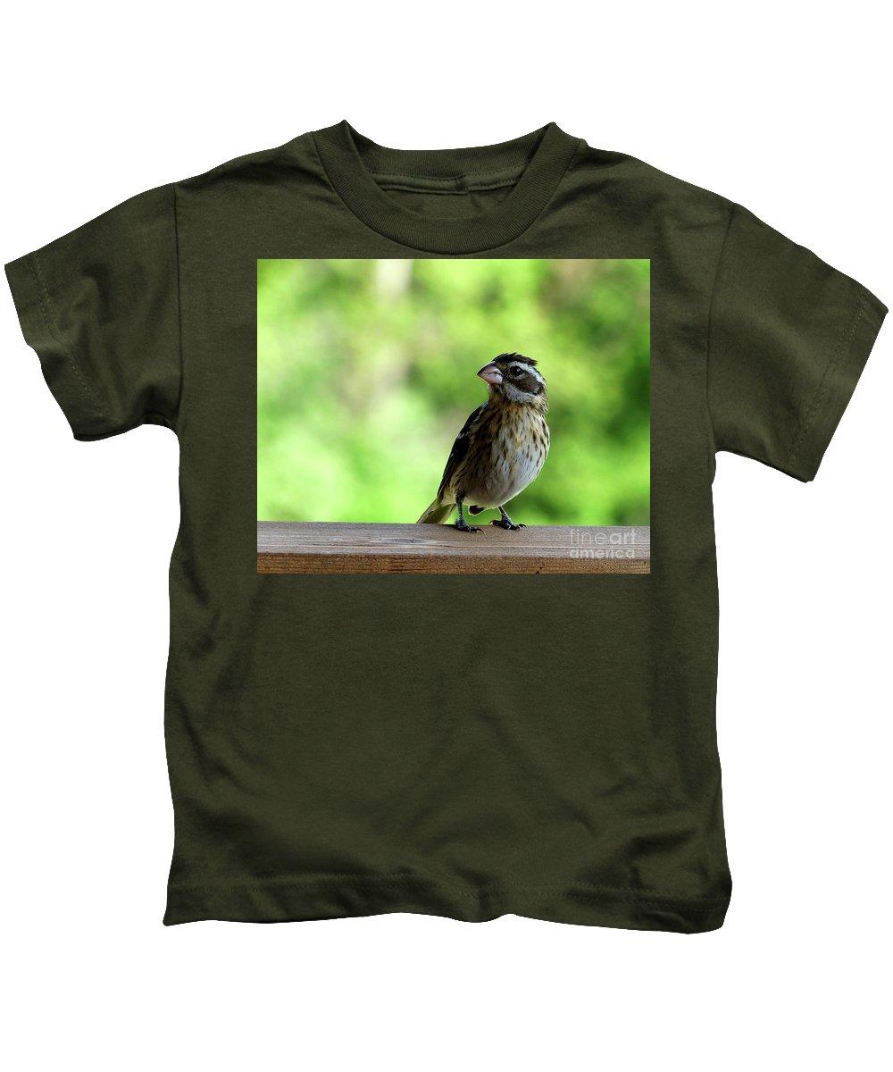 Bird Kids T-Shirt featuring the painting Bird With Punk Attitude by Paula Joy Welter