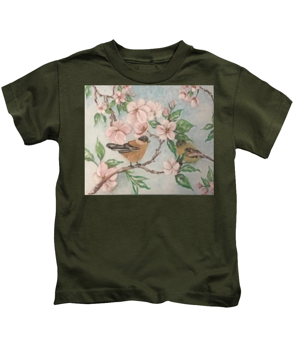Nature Kids T-Shirt featuring the painting Birds And Blossoms by Cb Fineartstudios