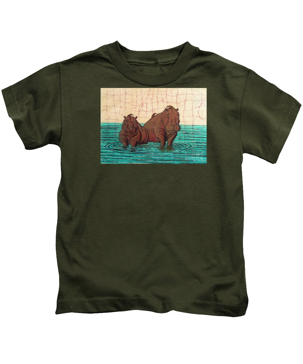 African Kids T-Shirt featuring the painting Birds Eye View by Peter Chikwondi